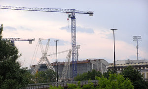 Cranes: Cranes building the stadium of Legia in Warsaw.