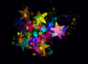 Lots of Stars 2: A black sky with rainbow coloured stars - just magic! A grat background, texture,fill, or element.