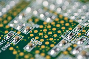 Circuit Board Close-up: Close-up of a circuit board with shallow depth of field.