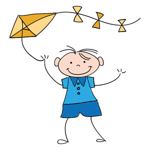 Kite: Drawing of a happy little boy flying a kite