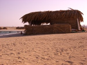 Hut on the beach: Hut on the beach in Egypt