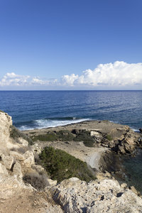 Rocky coastline: Rocky coastline of northern Cyprus.