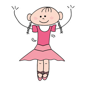Ballet girl: Drawing of a cute little girl doing ballet