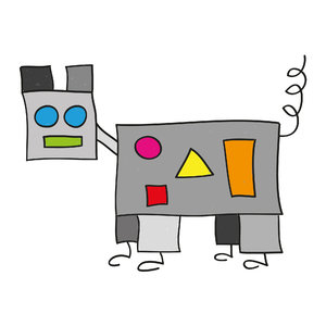 Robot dog: Drawing of a robot dog