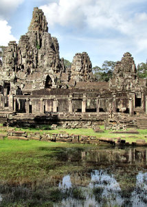 angkor reflections5: reflected Angkor Bayon temple complex ruins in Cambodia