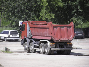 Dump truck: A truck at the construction zone.