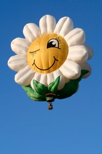 Smiling Daisy Air Balloon: Hot air balloon in the shape of a smiling daisy.