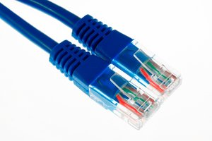 Ethernet Cables Close-up: Close-up of 2 ethernet cables isolated on a white background.