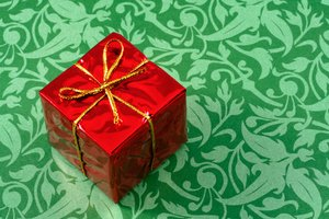 Gift Box Close-up: Close-up of a small gift box with Christmas colors.