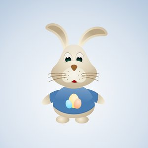 Easter Bunny 3: Vector bunny on the blue background