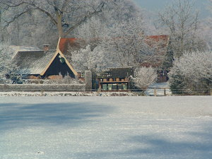 Dutch farmhouse in the snow