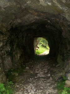 the cavern: passage of  a mountain path, Apls, Northern Italy