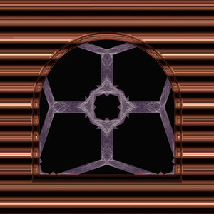 Gothic Window Arched 3: An arched gothic window in purple and brown, with a metallic finish, suitable for game layouts, decoration, or to add that touch of fantasy to a web page or layout.
