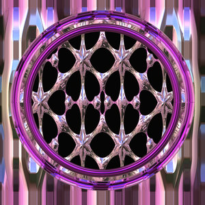 Gothic Window Round 2: A round fantasy gothic window in pinks and multi-colours with a metallic finish, suitable for game layouts, decoration, or to add that touch of fantasy to a web page or layout.