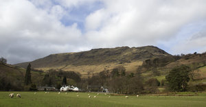 Village landscape: A village in the Lake District, Cumbria, England, in early spring.