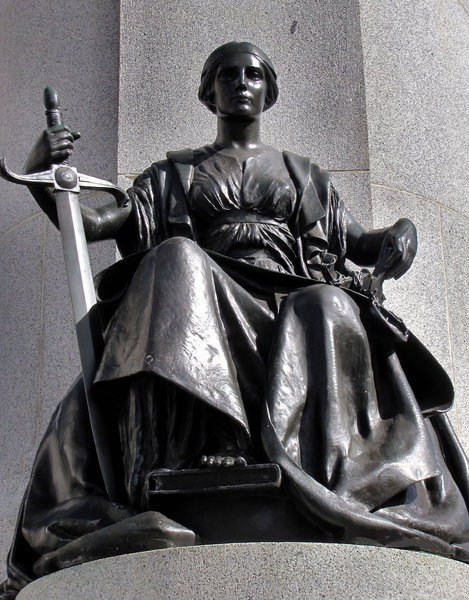 justice and strength: Victorian era memorial statue symbolising justice and strength
