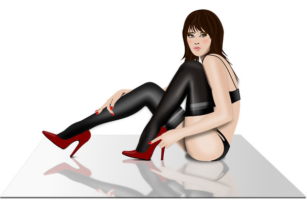 Woman in stockings: Vector woman in stockings