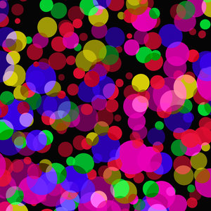 Coloured Dots: Lots of bright coloured dots against a black background. Very festive or celebratory. Great fill, background or texture.