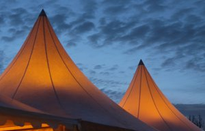 Tent at dusk: Illuminated party tent at dusk