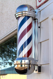 Barber Shop Pole: I was told that this is the only real barber shop pole in Western Canada. The owner had to go all the way to Minnesota, Illinois to get it.