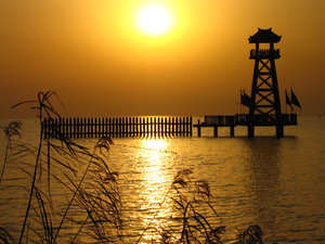 Golden Sunset: A sunset scene taken at Lake Tai in China.