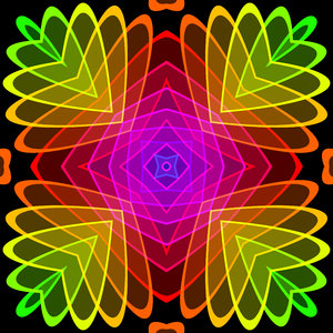 Kaleidoscopic Tile 7: A beautiful, glowing rainbow kaleidoscope of colour gradients and floral shapes, tileable for use as a fill, texture, background or element. All against a black background, which makes the colours zing.