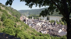Bacharach: An overview over a part of Bacharach, a little city at the river Rhine banks.