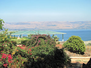 beatitudes: Mount of Beatitudes near Lake Kinneret (Israel)