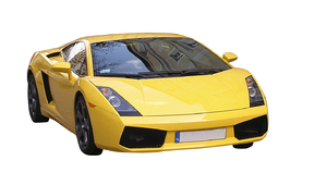 Sport car: A yellow expensive car.