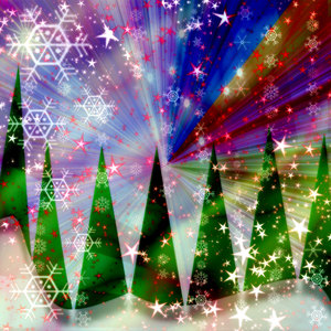 Christmas Fantasy 2: A Christmas scene with trees, snow, stars and a spectacular sky. Very sparkly.
