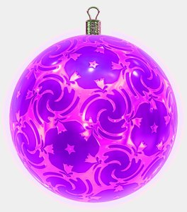 Christmas Bauble 7: An ornate Christmas bauble decorated with a pink metallic pattern.