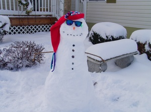 Frosty the Snowman: Lawn decoration of a snowman. Makes a fun card for winter or desktop photo.