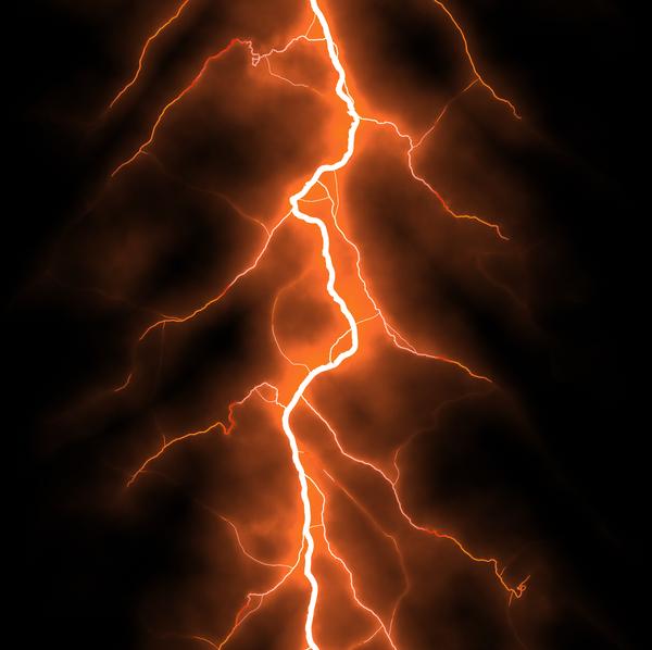 Red lightning storm background