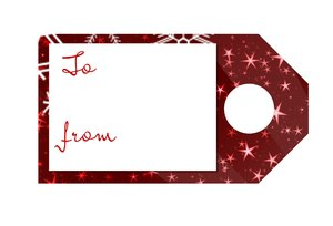 Tag 6 Christmas: A Christmas gift tag in red with white stars and the words,
