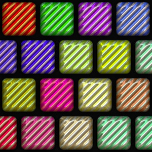 3D Tile 2: Colourful square textured glass or metallic 3d tiles against a black background.