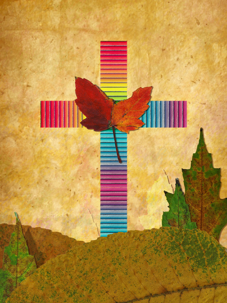 Colorful Cross: A Christian cross collage made with natural leaves.