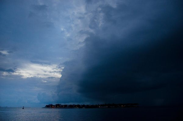 Storm clouds: Really bad storm approaching the Florida Keys, edge of a distant hurricane