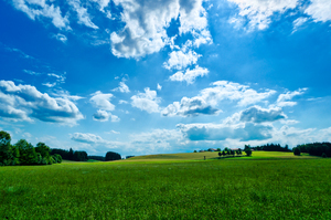 Village on green Hills - blue : Summer Landscape, green Hills, Meadows, blue Sky with white Clouds
