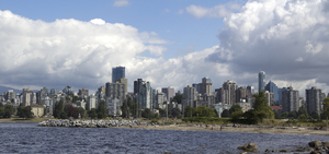 Vancouver city skyline: Three-shot photomerge of Vancouver, Canada.