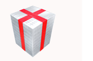 Gift 2: A wrapped gift in white paper and a red ribbon against a white background.