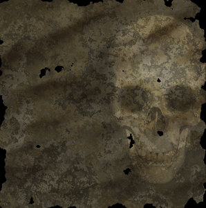 Skull 5: Spooky halloween image made from a public domain image of a skull on grungy, ancient parchment. This would make a great pirate map.