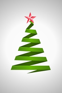 Origami Christmas Tree: Origami Christmas Tree on the silver background