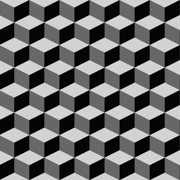 Tumbling Blocks 5: Seamless tumbling blocks background.  Optical illusion illustration.