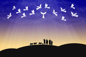 Bethlehem angels and shepherds: Graphic depiction of angels and shepherds by Bethlehem.