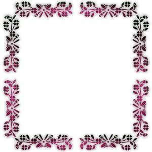 and pretty floral border or frame on a white background, with a 3d ...