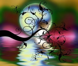Swirly Branch 3: A swirly branch silhouetted against a moon and water. This has been made from a public domain image but my resulting image is copyrighted to me. You may prefer this:  http://www.rgbstock.com/photo/nX4Xg3I/Swirly+Branch