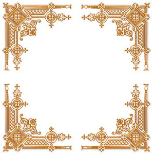 Golden Ornate Border 21: A golden ornate border or frame on a plain ...