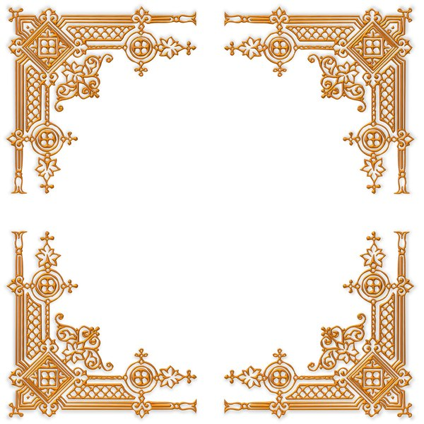 Golden Ornate Border 21: A golden ornate border or frame on a plain white background. Very elegant and old fashioned in a classic style. You may prefer this:  http://www.rgbstock.com/photo/nvi0UW8/Golden+Ornate+Border+2  or this:  http://www.rgbstock.com/photo/nL3g19U/Golden+Vine