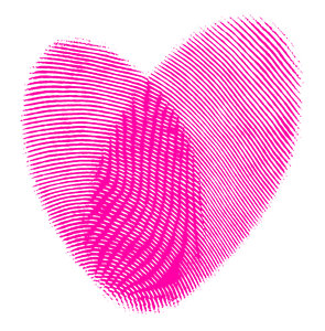 Fingerprint 1: A graphic representation of fingerprints overlapping in the shape of a heart.