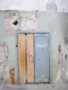 Old door: A ruined church interior in Vilnius.